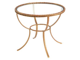 Rope Twist Round Glass top end table OCC24D