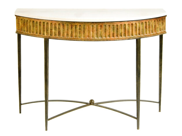 Ribbed Apron Demi-Lune Console Table with stretcher CON26